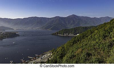 Top view of lake kawaguchi from Mountain