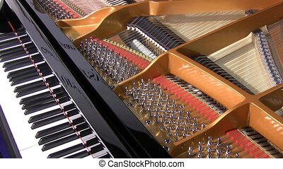 Self playing grand piano - Close up of acoustic automated...