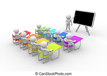 School - 3d people - men , person with pointer in hand close...