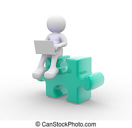 Laptop and pieces of puzzle - 3d people - man, person with a...