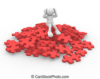 Pieces of puzzle - 3d people - man, person sits over on a...