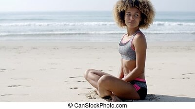 Young Sporty Girl On The Beach