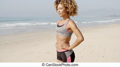 A Young Girl At The Beach. - Seductive afro haired woman...