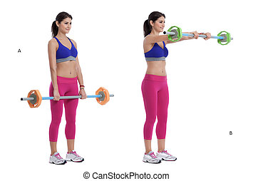 Barbell front raise - Step by step instructions: Place a...