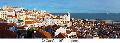 Alfama downtown, left Monastery os S Vicente de Fora is...