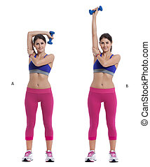Overhead Triceps Extensions with Dumbbell - Step by step...