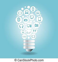 Internet Concept - computer icon with light bulb with blue...