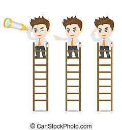 Businessman look on the ladder