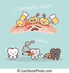 tooth with beer and smoke - cartoon black or yellow tooth...