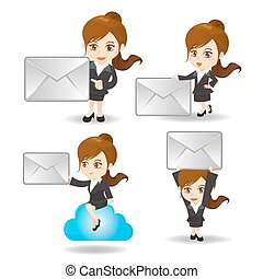 cartoon Business woman with email