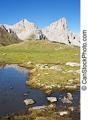 Pyrenees - Peaks and Ansabere Lake. Lescun Cirque. Aspe...