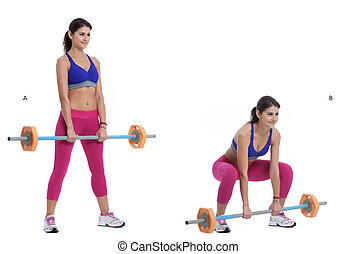 Front Barbell Squat - Step by step instructions: Position...