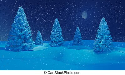 Winter night landscape with firs and half moon - Dreamlike...