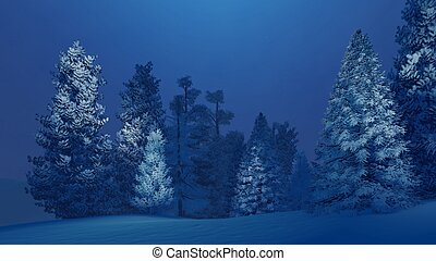 Snow-covered spruce forest at winter night - Dreamlike...