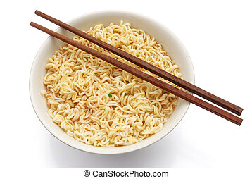 top view noodles and chopsticks with clipping path