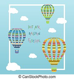 Coloorful hot air balloon in the cloudy sky. Vector illustration.