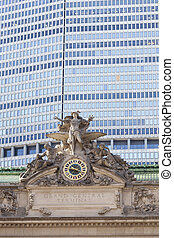 clock and statue on grand central station in new york city