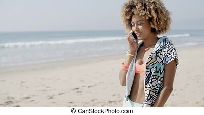 Young Girl Talking On The Phone - Attractive young girl...