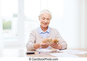 domů, peníze, starší, manželka, doklady