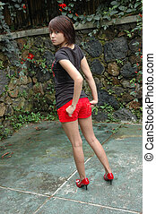 young lady with retro style - young asian lady get posed...