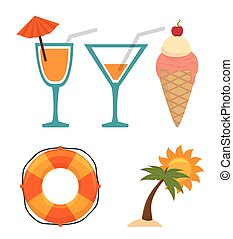 Summer, travel and vacations graphic design, vector...