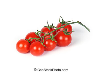 cherry tomatoes - white background behind the small cherry...