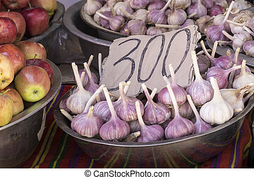 Fresh onion and garlic for sell in morning market, Bishkek,...