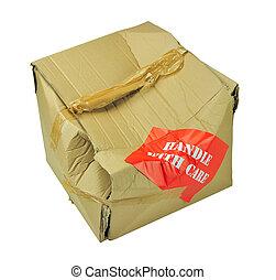 Danificado, papelão, caixa