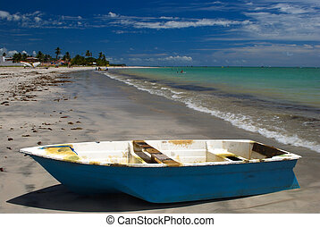 Boat on a crystalline green sea in Maceio,Alagoas, Brazil