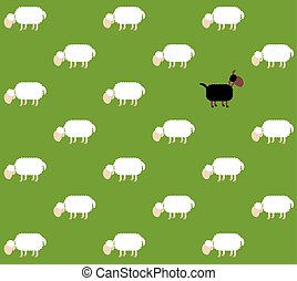 Black Sheep Pasture Comic Wallpaper - Black sheep with white...