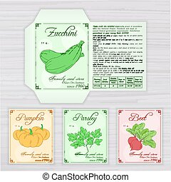 vector printable template of seed packet with image, name...