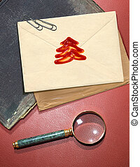 Christmas message with red wax seal - Christmas message with...