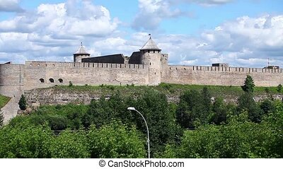 panorama view of the Ivangorod Fort - Ivangorod Russia July...
