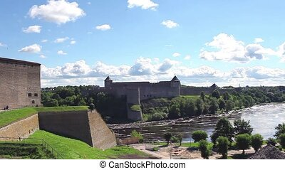 panorama view fortress of Narva and - fortress Narva and...