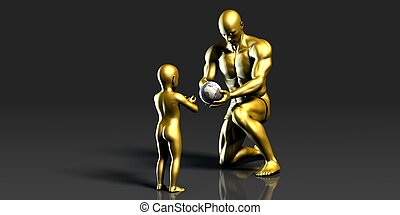 Father and Son Holding Earth