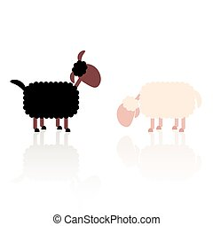 Black And White Sheep Illustration
