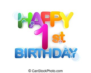 Happy 1st Birthday Title, light - Happy 1st birthday Title...