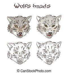 Vector illustration of hand drawn wolves heads. Two of them are painted, two other are scribbled. This illustration is isolated on a white background