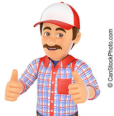 3D Handyman with two thumbs up - 3d working people. Handyman...