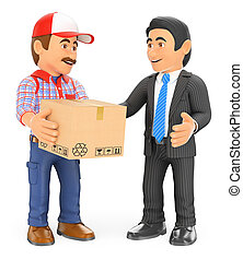 3D Courier delivery man delivering a package to a businessman