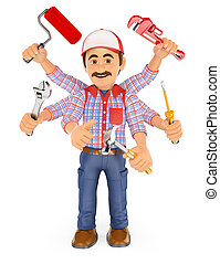 3D Handyman multitasking with six arms - 3d working people....