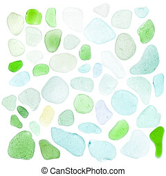 sea glass pieces on white - sea glass pieces isolated on...