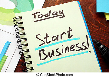 Start business - Notebook with the words Start business on...