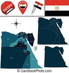 Map of Egypt - Vector map of Egypt with named divisions and...
