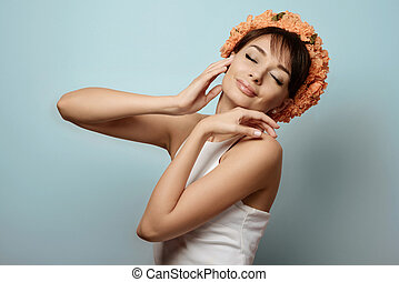 Young girl in flower crown - Young beautifil girl in the...