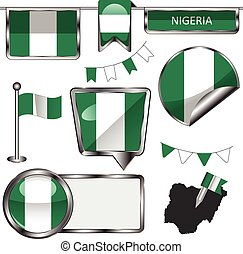 Glossy icons with flag of Nigeria - Vector glossy icons of...
