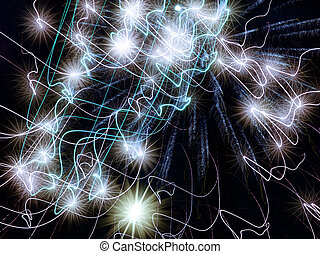 Neon stars abstract background. - Holiday neon stars...