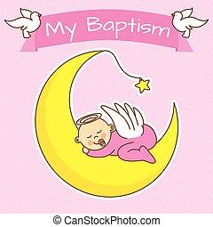girl baptism - angel baby sleeping on the moon. girl baptism...