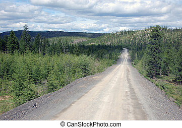 Gravel road Kolyma state highway outback, Russia