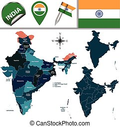 Map of India - Vector map of India with named states and...